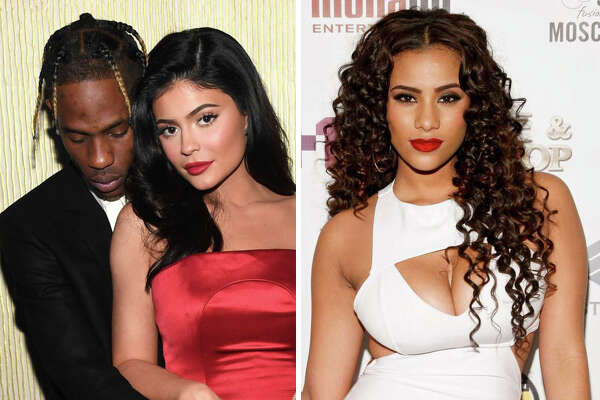 Travis Scott, Kylie Jenner and Cyn Santana are pictured in this composite photo.