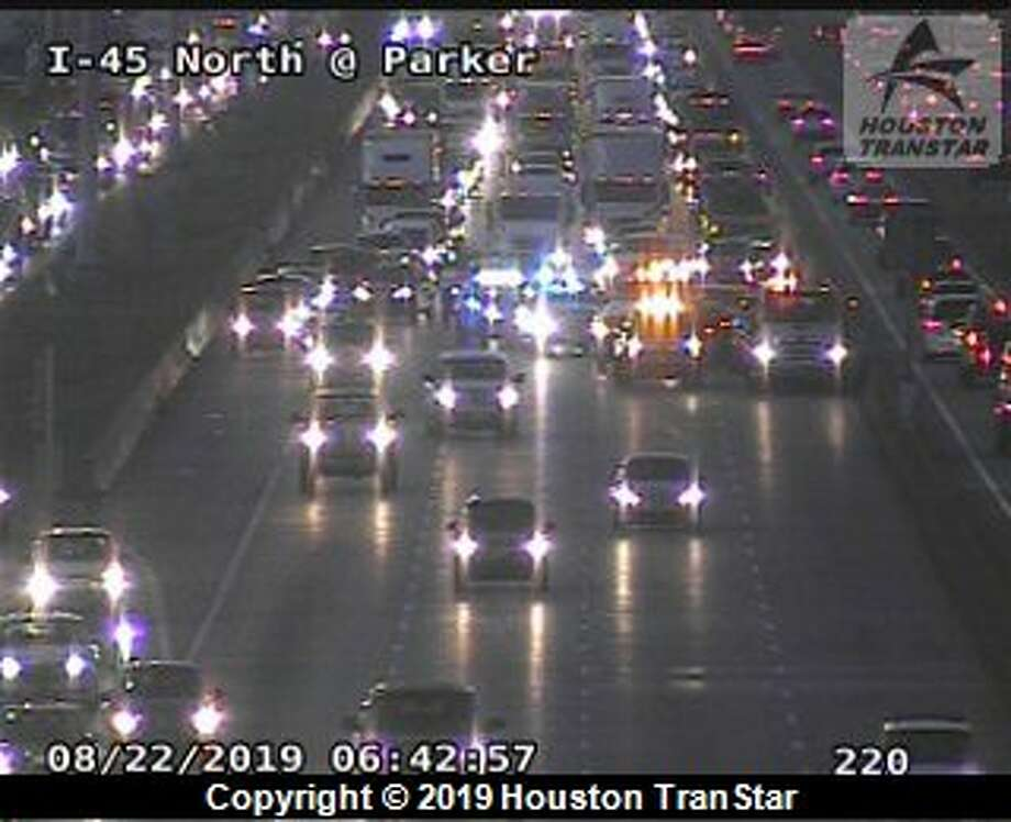About six car are involved in the collision on Interstate 45 and Parker Road, officials said. Photo: Houston TranStar