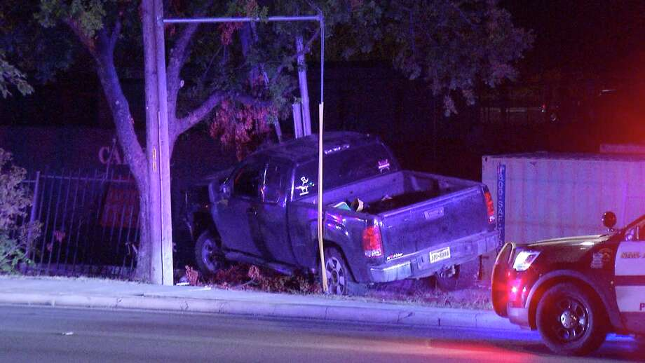 A man crashed his brand new truck into a utility pole on the city's North Side Wednesday night, Castle Hills police said. Photo: Ken Branca