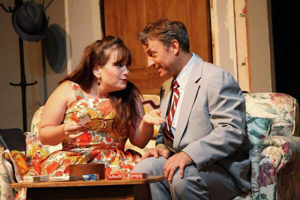 """Bobbi (Kate Patton) is not an easy target for Barney's (Duane Lanham) attentions in """"Last of the Red Hot Lovers,"""" playing September 6-28 at the Ridgefield Theater Barn."""
