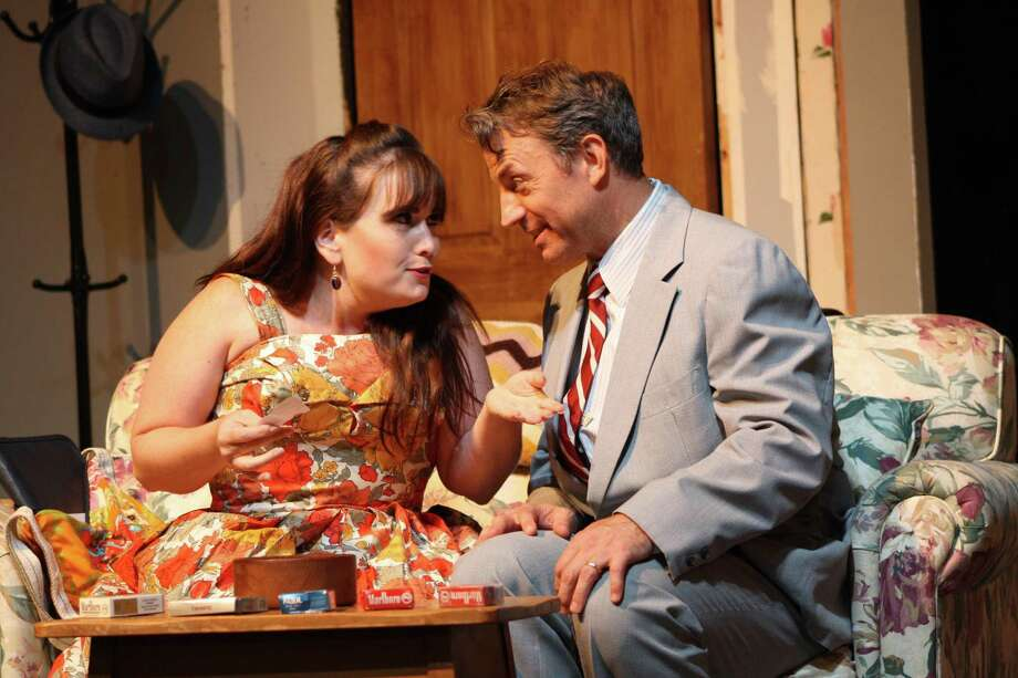 "Bobbi (Kate Patton) is not an easy target for Barney's (Duane Lanham) attentions in ""Last of the Red Hot Lovers,"" playing September 6-28 at the Ridgefield Theater Barn. Photo: Alicia Dempster / Contributed Photo"