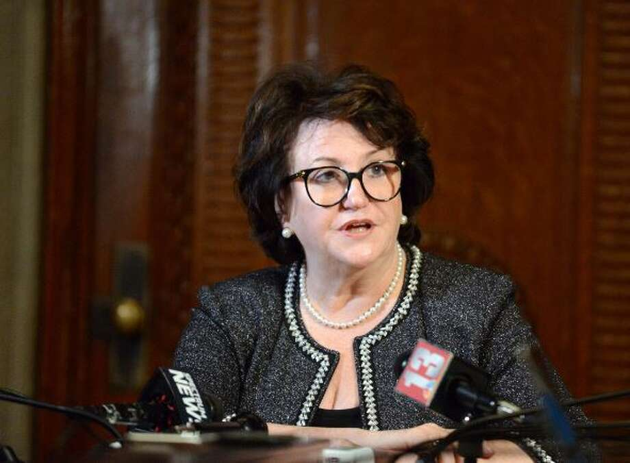 State Education Commissioner MaryEllen Elia discusses her intention to leave her post later this summer in a Q& at the State Education building in Albany on July 15, 2019. Photo: Times Union