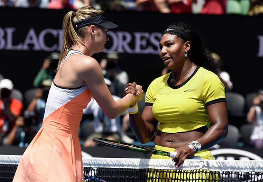 "FILE - In this Jan. 26, 2016, file photo, Serena Williams, right, of the United States is congratulated by Maria Sharapova of Russia after winning their quarterfinal match at the Australian Open tennis championships in Melbourne, Australia. Serena Williams says Maria Sharapova ""showed a lot of courage"" in taking responsibility for her failed drug test. The 21-time major champion said Tuesday, March 8, 2016,  she ""hoped for the best"" for Sharapova, a day after the Russian star revealed she failed a test the day she lost to Williams at the Australian Open in January. Photo: Andrew Brownbill, AP / AP"
