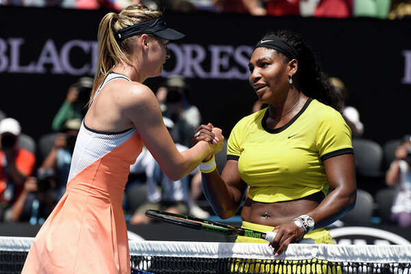 "FILE - In this Jan. 26, 2016, file photo, Serena Williams, right, of the United States is congratulated by Maria Sharapova of Russia after winning their quarterfinal match at the Australian Open tennis championships in Melbourne, Australia. Serena Williams says Maria Sharapova ""showed a lot of courage"" in taking responsibility for her failed drug test. The 21-time major champion said Tuesday, March 8, 2016, she ""hoped for the best"" for Sharapova, a day after the Russian star revealed she failed a test the day she lost to Williams at the Australian Open in January."