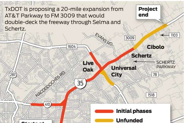 TxDOT is proposing a 20-mile expansion from AT&T Parkway to FM 3009 that would double-deck the freeway through Selma and Schertz.