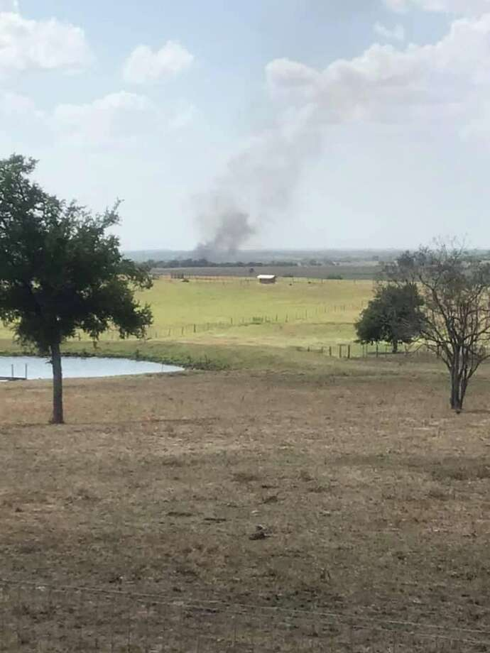 York Creek fire officials responding to a 100-acre wildfire in Kingsbury on Aug. 18 photograph a plume of smoke from the fire 25 miles away. Photo: York Creek VFD