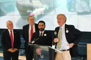Norwalk Common Council President Tom Livingston speaks during an Earth Day initiative press conference at the Martime Aquarium in Norwalk, Conn. Monday, April 22, 2019. Stamford and Norwalk leaders announced a plan to ban the use of single-use plastic straws and urged local businesses and residents to use more eco-friendly materials when possible.