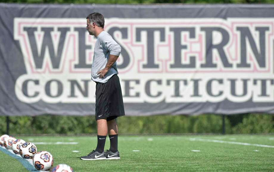 Head coach Alex Harrison during Western Connecticut State University women's soccer team practice last year. Photo: H John Voorhees III / Hearst Connecticut Media / The News-Times
