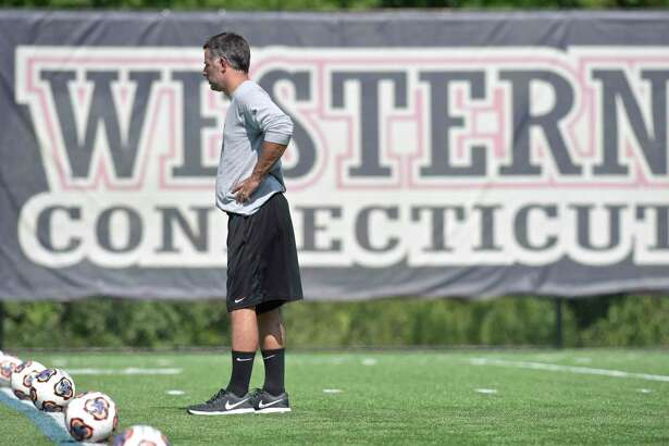 Head coach Alex Harrison during Western Connecticut State University women's soccer team practice last year.