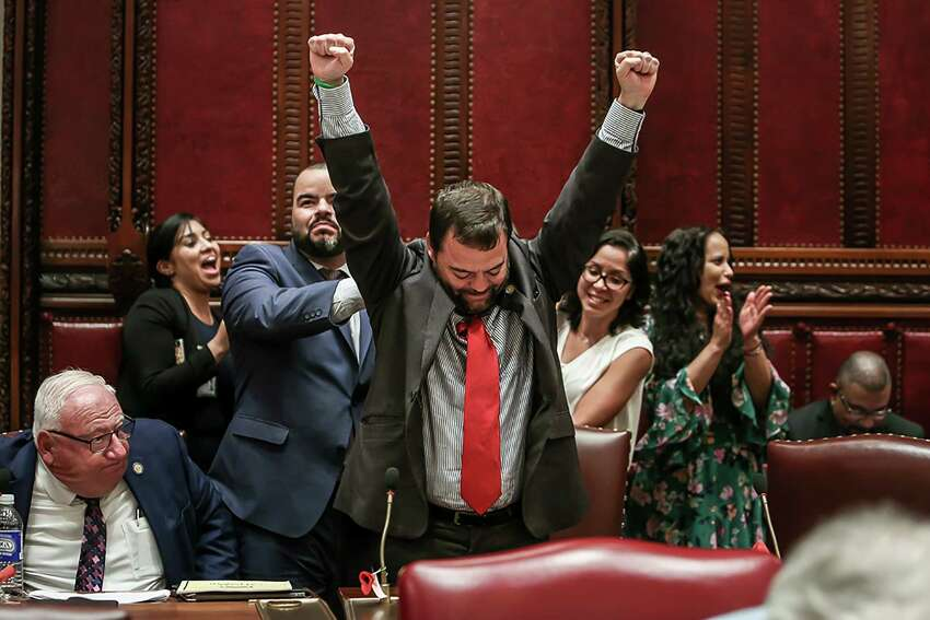 Sen. Luis Sepulveda, a Bronx Democrat, celebrates the passage of the