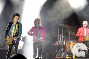 Mick Jagger and Ronnie Wood on stage with Charlie Watts, rirght, as the Rolling Stones performed during the No Filter Tour at Levi's Stadium in Santa Clara, Calif., on Sunday, August 18, 2019.
