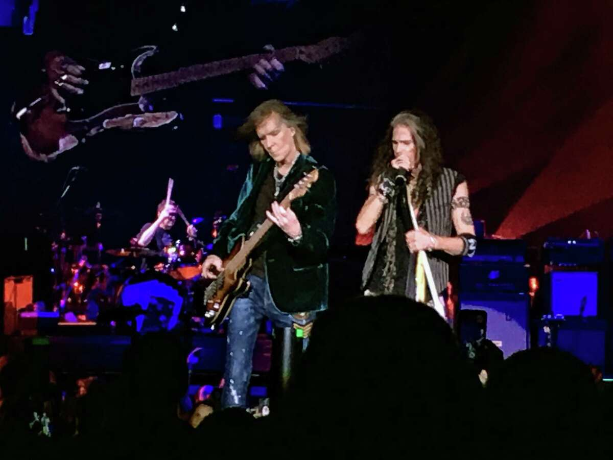 Steven Tyler, right, and Tom Hamilton at the Wednesday night show.