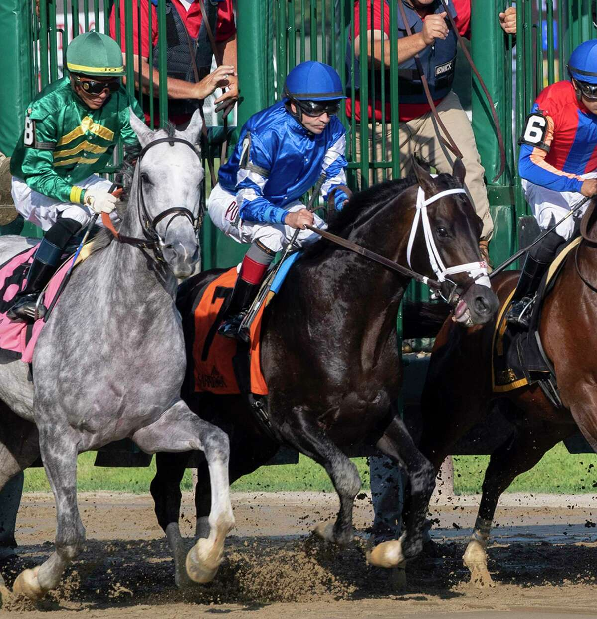 The field in the 11th running of The Curlin leaves the gate at the Saratoga Race Course Friday July 26, 2019 in Saratoga Springs, N.Y. Endorsed #7, right finished second to Highest Honors, left. Photo special to the Times Union by Skip Dickstein