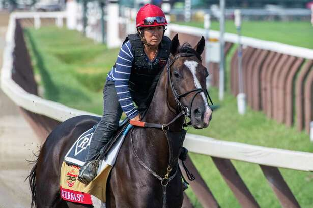 Travers entrant Everfast with exercise rider Tammy Fox goes out for a gallop on the main track at the Saratoga Race Course Thursday Aug. 22, 2019 in Saratoga Springs, N.Y. Photo special to the Times Union by Skip Dickstein