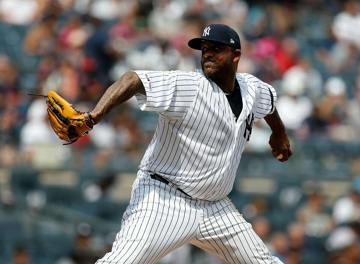 NEW YORK, NEW YORK - AUGUST 18: CC Sabathia #52 of the New York Yankees pitches during the second inning against the Cleveland Indians at Yankee Stadium on August 18, 2019 in New York City. (Photo by Jim McIsaac/Getty Images)