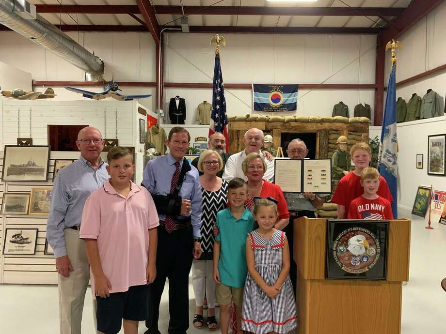 U.S. Sen. Richard Blumenthal, D-Conn., met with the family of Staff Sgt. John Gilbert at the West Haven Military Museum Thursday to honor his service in the U.S. Army during the Vietnam and Korean wars as a supply specialist Photo: Staff Of U.S. Sen. Richard Blumenthal.