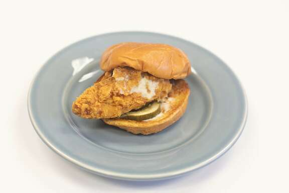 A fried chicken sandwich from Popeye's Louisiana Kitchen in San Francisco, California on August 22, 2019.