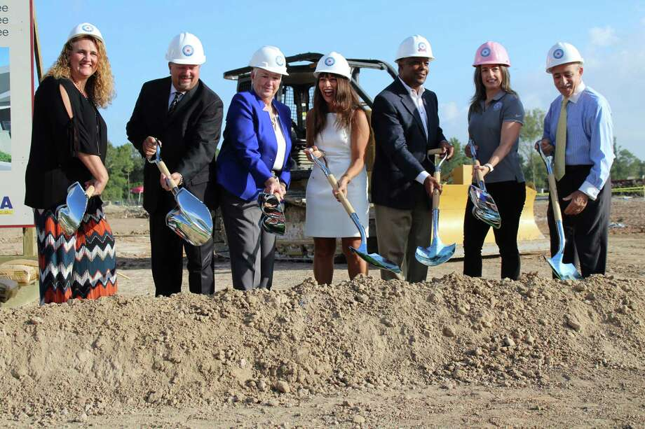 The Humble ISD Board of Trustees celebrated the groundbreaking of Elementary No. 29 in the Lakewood Pines subdivision off of West Lake Houston Parkway in Atascocita. From left to right: Lori Twomey, Robert Sitton, Nancy Morrison, Humble ISD Superintendent Elizabeth Fagen, Charles Cunningham, Angela Conrad and Robert Sitton. Photo: Kaila Contreras
