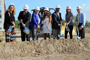 The Humble ISD Board of Trustees celebrated the groundbreaking of Elementary No. 29 in the Lakewood Pines subdivision off of West Lake Houston Parkway in Atascocita. From left to right: Lori Twomey, Robert Sitton, Nancy Morrison, Humble ISD Superintendent Elizabeth Fagen, Charles Cunningham, Angela Conrad and Robert Sitton.
