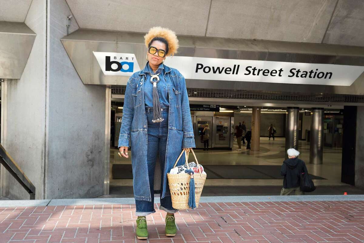 Bay Area stylist, Jillian Knox, in the most fashionable Canadian tuxedo since Britney and Justin, featuring a textile necklace by designer Zelma Rose.