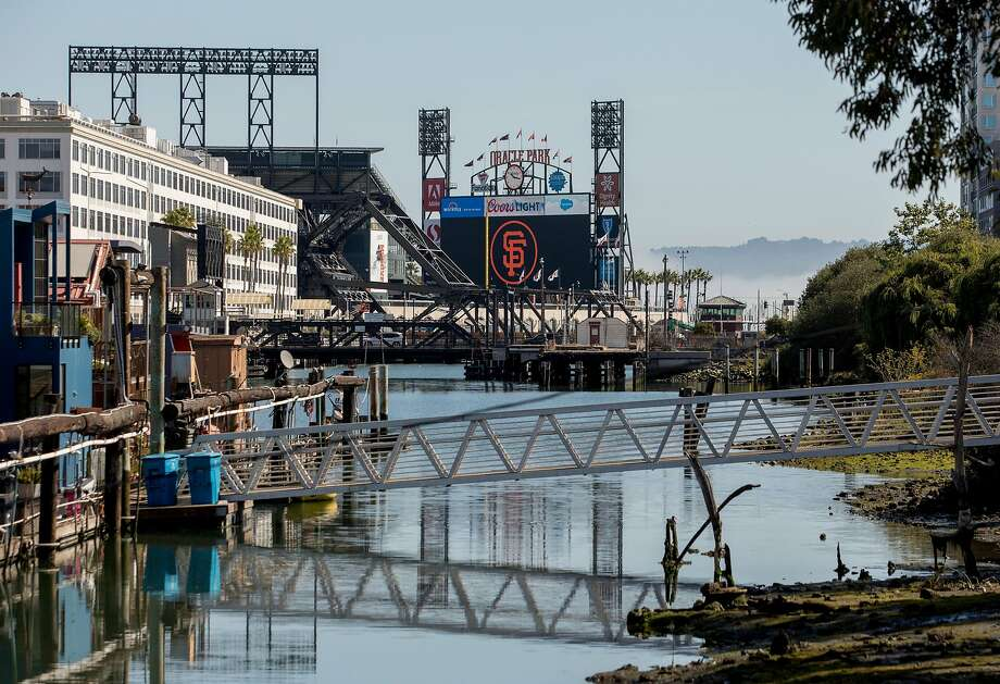 Oracle Park is seen at the end of Mission Creek in the Mission Bay neighborhood of San Francisco, Calif. Thursday, August 22, 2019. Photo: Jessica Christian / The Chronicle