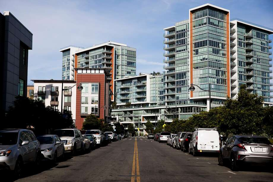 A view looking west down China Basin Street from Fourth Street, which is the main shopping corridor in the new Mission Bay neighborhood of San Francisco. Photo: Photos By Jessica Christian / The Chronicle