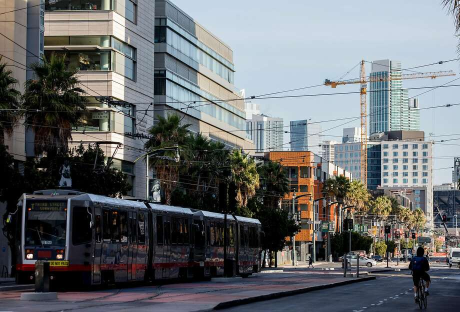 Looking north along Third Street where the T-Third Muni Metro line runs through the Mission Bay neighborhood. Photo: Jessica Christian / The Chronicle