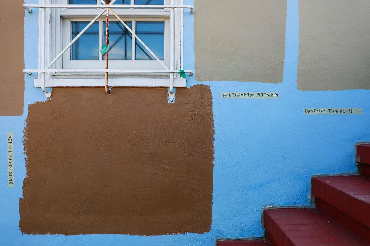 Paint color samples are seen on the house that Anna Chase and her roomates were recently evicted from in Monterey Heights in San Francisco, California, on Wednesday, Aug. 21, 2019. She rented a room through HubHaus, a startup that facilitates