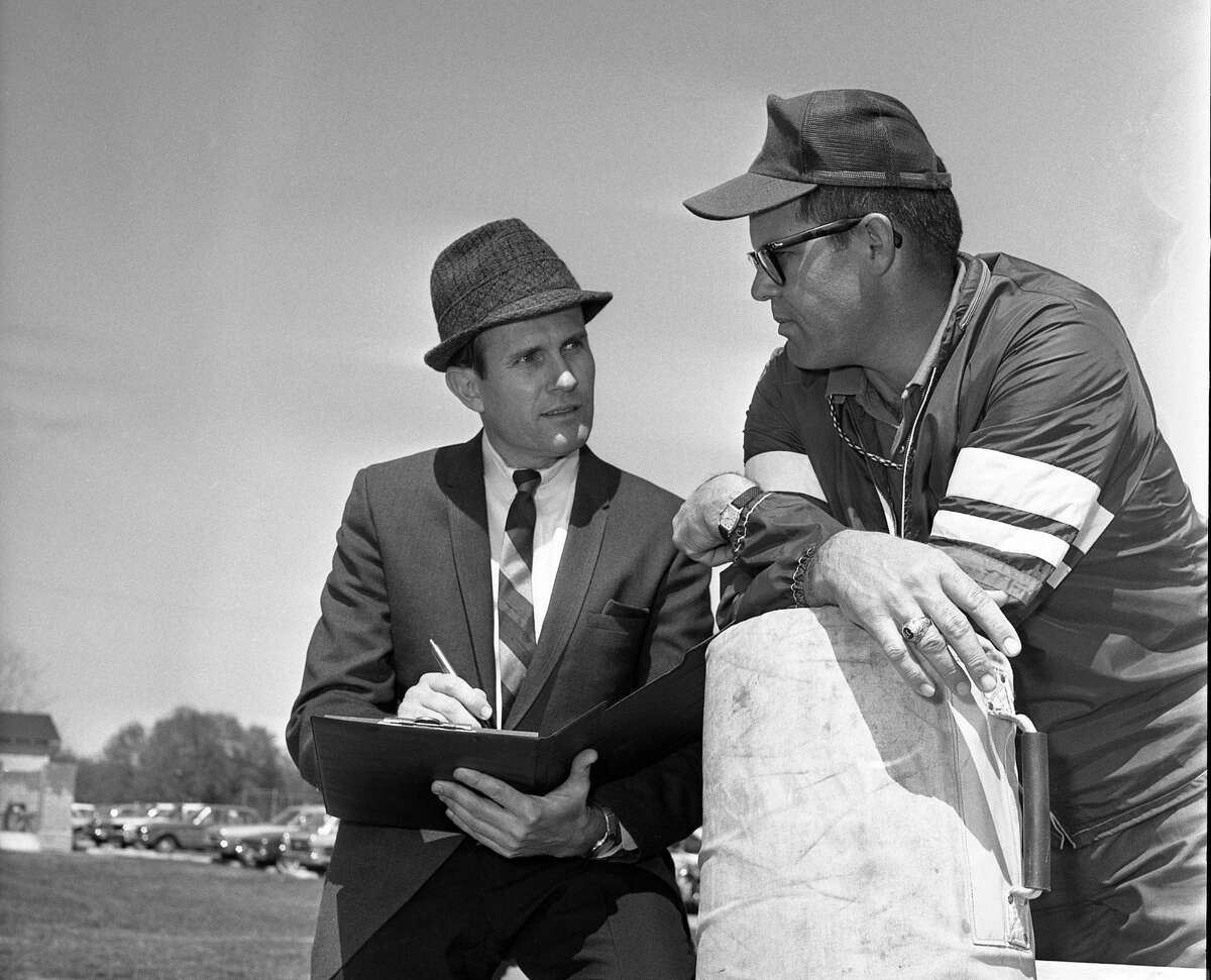 Bill McMurray (left), pictured here on the job in 1962, covered high school sports at the Houston Chronicle for parts of four decades.