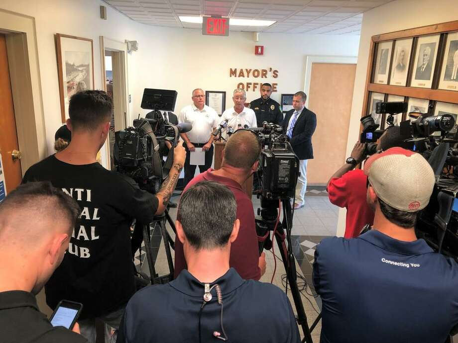 East Haven Mayor Joseph Maturo Jr. speaks to the press after Thursday's shooting. Photo: Ben Lambert / Hearst Connecticut Media