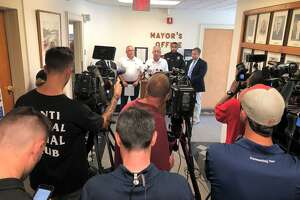 East Haven Mayor Joseph Maturo Jr. speaks to the press after Thursday's shooting.