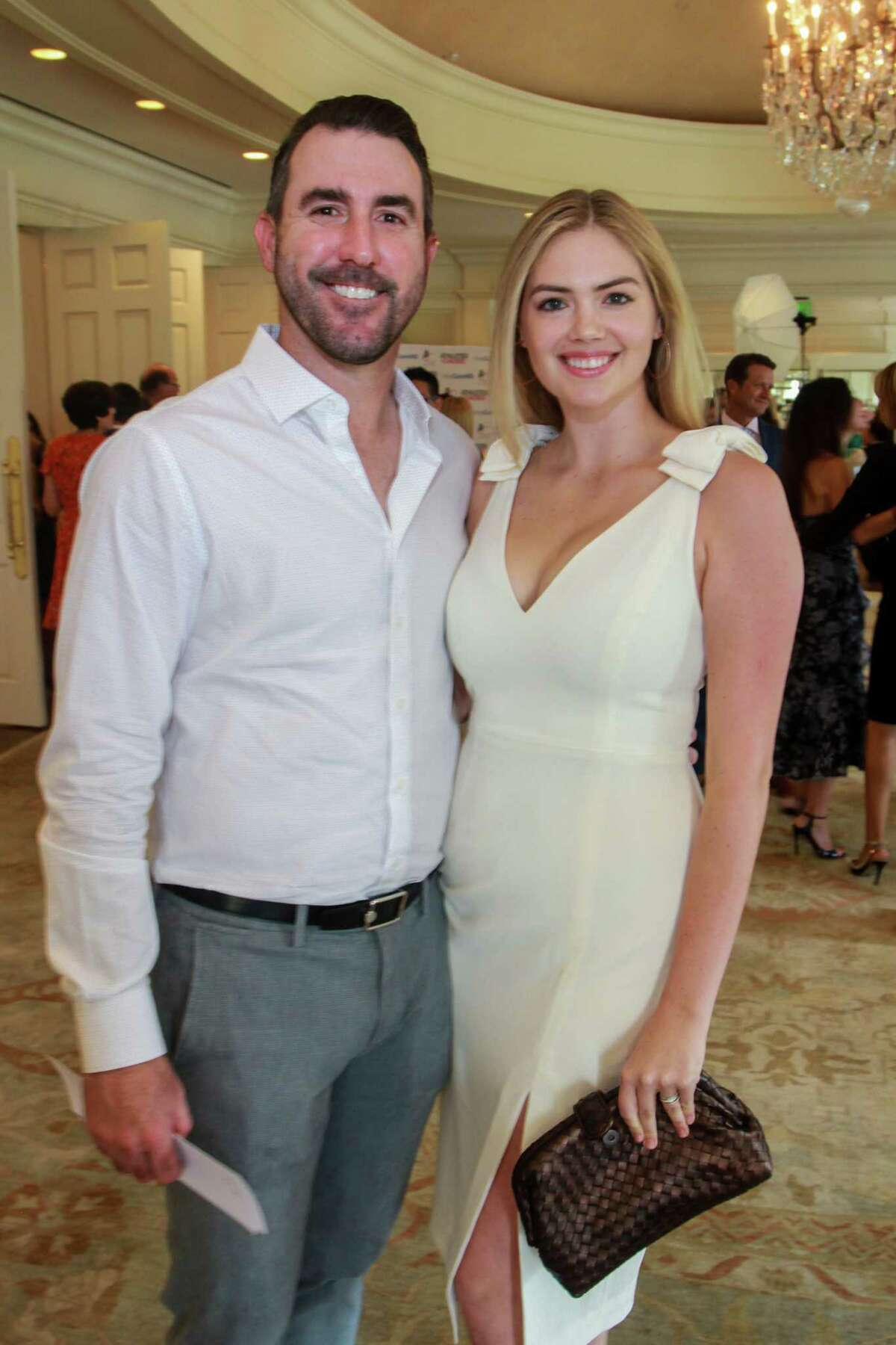 Justin Verlander and Kate Upton at the Huntington's Disease luncheon at River Oaks Country Club on August 22, 2019.