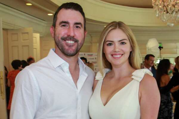 EMBARGOED FOR SOCIETY REPORTER UNTIL AUGUST 25 Justin Verlander and Kate Upton at the Huntington's Disease luncheon at River Oaks Country Club on August 22, 2019.