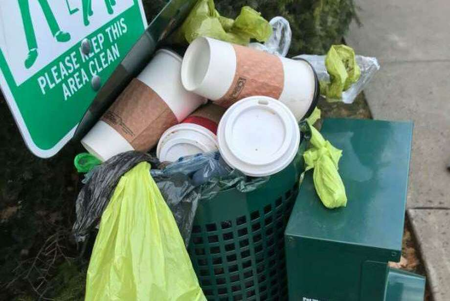 The receptacle at the intersection of Main Street and Route 102 has infuriated residents and town officials dating back to November 2018. Photo: Contributed Photo