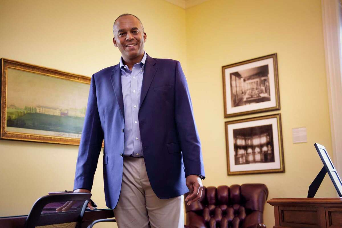 Union College President David R. Harris in his office at the college on Monday, August 19, 2019, in Schenectady, N.Y. (Paul Buckowski/Times Union)