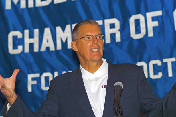 UConn football coach Randy Edsall appearing at the Middlesex County Chamber of Commerce breakfast on Thursday, Aug. 22.