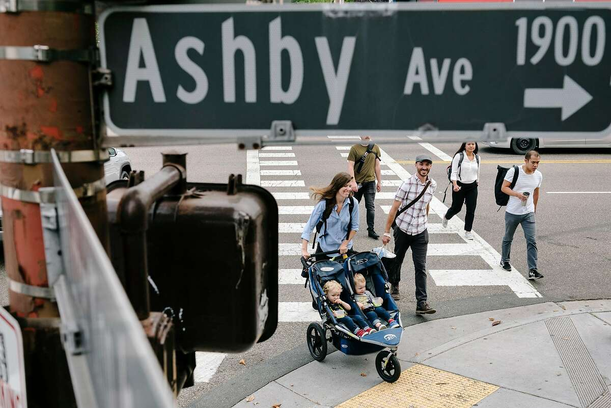 Pedestrians use the crosswalk on Martin Luther King Jr. Way as they cross Ashby Avenue in Berkeley, Calif., on Thursday, August 22, 2019. State Sen. Scott Wiener is pressing a bill to make Caltrain consider improvements for bicycles and pedestrians whenever it starts a major street project on a state highway that actually functions as a city street, like Ashby Ave. in Berkeley.
