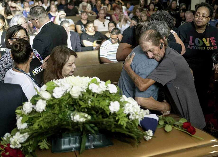Antonio Basco greets well wishers to a public memorial for his wife, Margie Reckard, who was killed in the El Paso mass shooting. He invited the public to mourn with him because he was all alone, and thousands of people showed up to pay their respects. Let's not lose sight of El Paso. Photo: Sandy Huffaker /Getty Images / 2019 Getty Images 2019 Getty Images