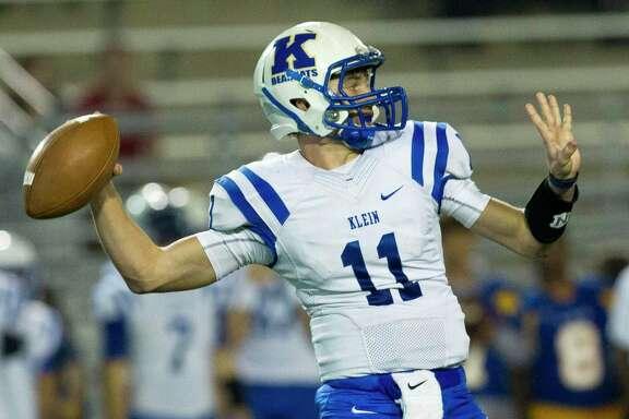 Klein quarterback Bryce Corriston led the Bearkats to a 31-28 win over Klein Oak in the District 15-6A opener, Sept. 12, at Klein Memorial Stadium.