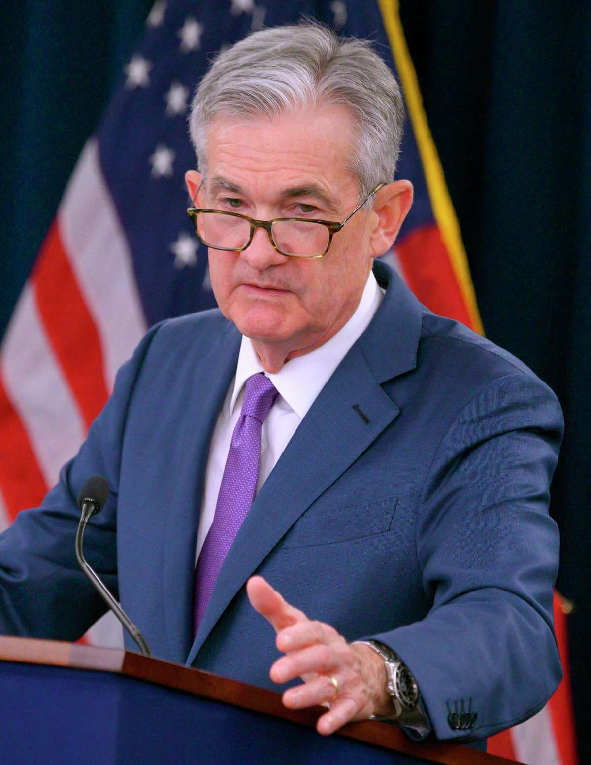 (FILES) In this file photo taken on July 31, 2019 US Federal Reserve Chairman Jerome Powell speaks during a press conference after a Federal Open Market Committee meeting in Washington, DC. - President Donald Trump resumed his attacks on Federal Reserve Chair Jerome Powell on August 21, 2019, blaming him for keeping the economy from growing much faster.In yet another Twitter screed, Trump said,