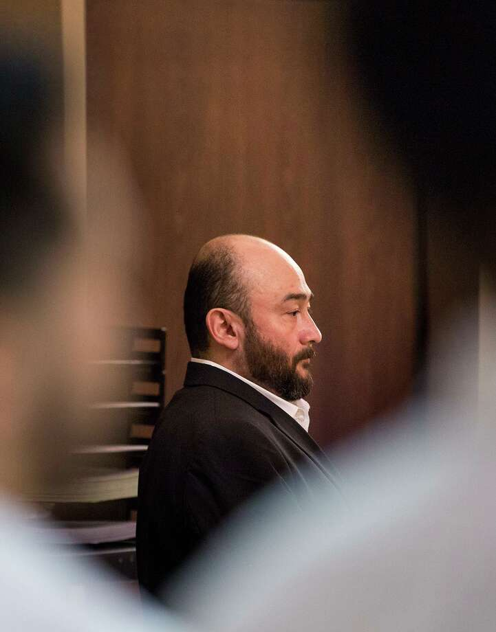 Defendant George Oscar Peña stands as the jury leaves during his murder trial at the Cadena-Reeves Justice Center in San Antonio on Thursday, Aug. 22, 2019. Peña is accused of killing his neighbor, Juan Ramiro Martinez, in April 2018. Photo: Daniel Carde /Special Contributor / Daniel Carde