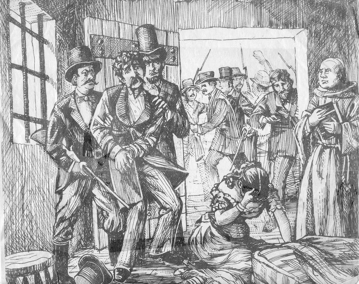 Charles Cora being taken away, Belle Cora weeps
