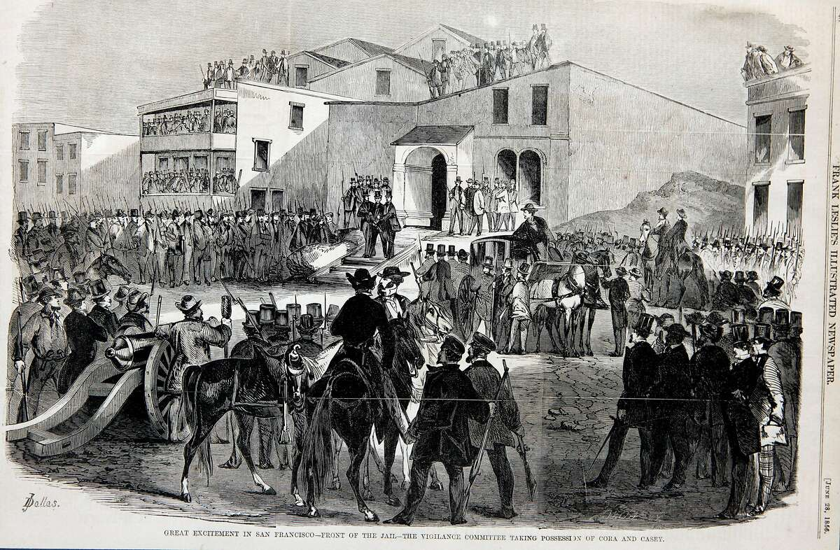 A drawing dated June 28, 1856 from the Frank Leslie's Illustrated Newspaper shows Charles A. Doane riding a white horse as his California Vigilante Committee forms San Francisco jail to remove and later hang two killers that the committee felt would get off do to a corrupt legal system. Thursday June 10, 2010 Charles Cora and James Casey