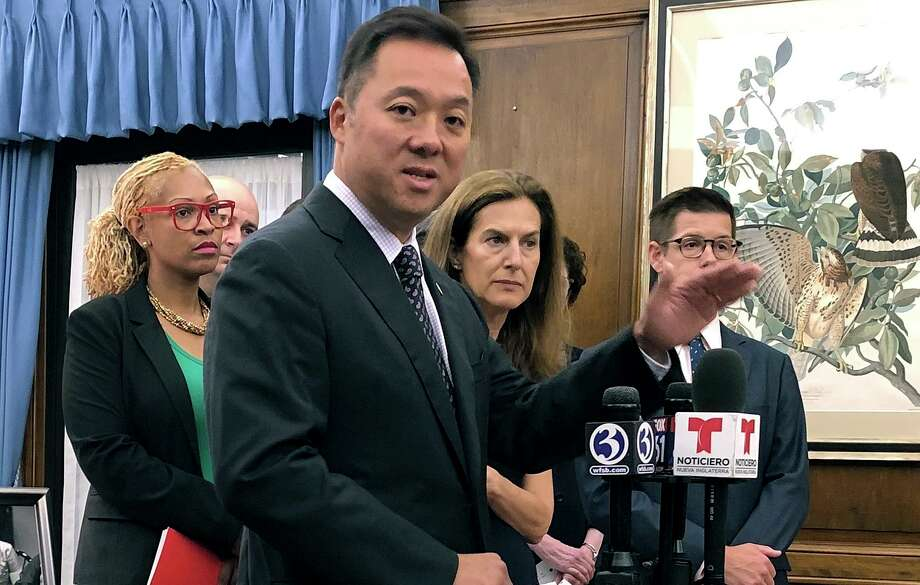 Connecticut Attorney General William Tong speaks in his office, Wednesday, Aug. 21, 2019, in Hartford, Conn., about the potential impact on thousands of state residents by planned rule changes for public benefits for immigrants. Photo: Susan Haigh / Associated Press / Copyright 2019 The Associated Press. All rights reserved