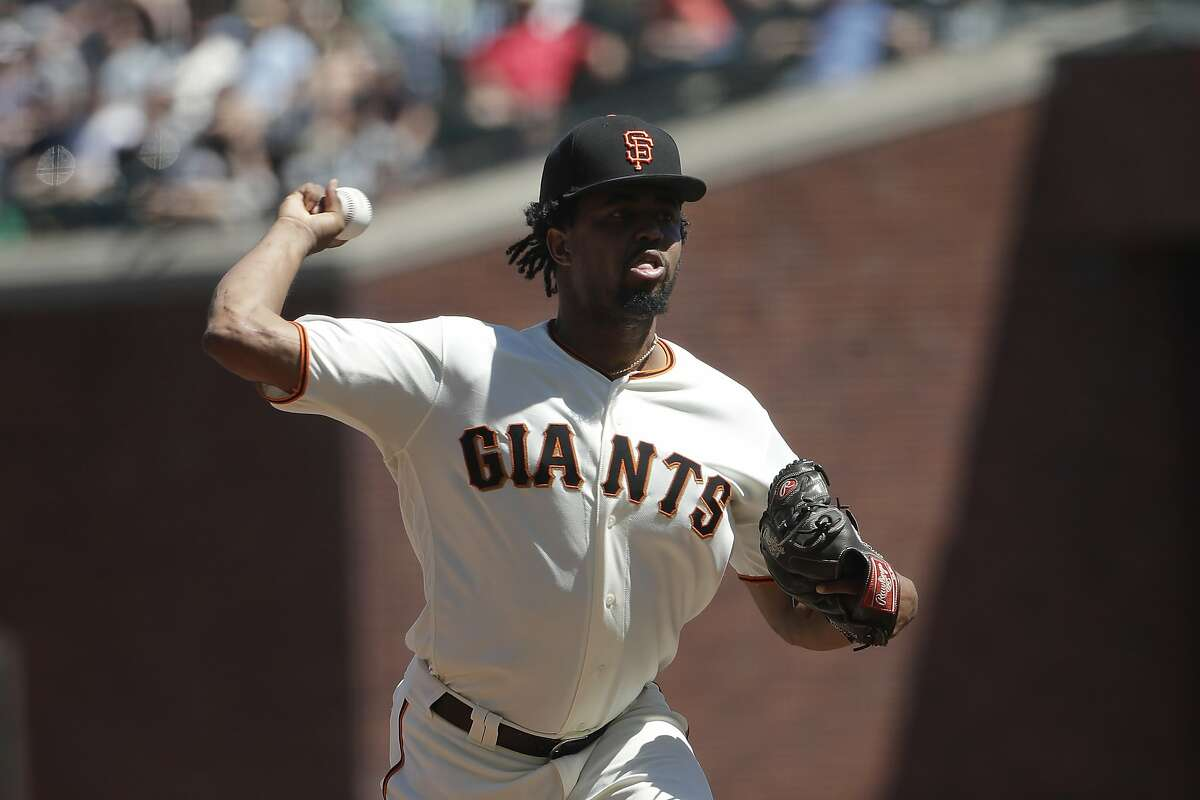 San Francisco Giants pitcher Jandel Gustave throws against the Oakland Athletics during a baseball game in San Francisco, Wednesday, Aug. 14, 2019. (AP Photo/Jeff Chiu)