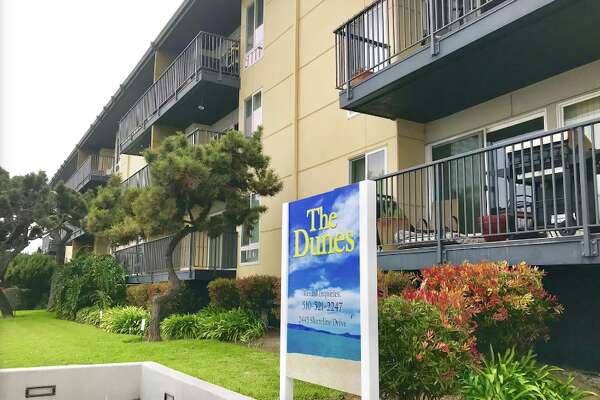 A view of the Dunes Apartments in Alameda. Holocaust survivor and immigrant Musiy Rishin has resided here for eleven years, and is currently being threatened with eviction because he is a section 8 voucher holder.