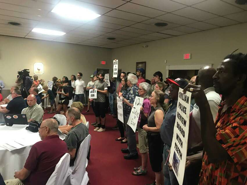 Residents in Troy outragedby the city's inaction in response to an internal affairs investigation that found the sergeant who killed Edson Thevenin and used unjustifiable deadly force and lied to investigators flooded the city council meeting on Thursday, Aug. 22, 2019.