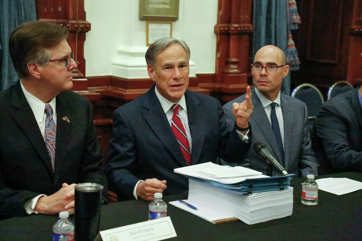 Texas Governor Greg Abbott addresses the media prior to hosting the first meeting of the Texas Safety Commission to discuss ways to respond to the recent mass shooting in El Paso. [JAMES GREGG/AMERICAN-STATESMAN]
