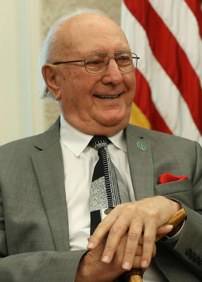 WASHINGTON, DC - AUGUST 22: Former Boston Celtic Bob Cousy listens to U.S. President Donald Trump introduce him before presenting him with the Medal of Freedom to in the Oval Office at the White House on August 22, 2019 in Washington, DC. Mr. Cousy is credited helping the Boston Celtics win six National championships. (Photo by Mark Wilson/Getty Images) Photo: Mark Wilson / Getty Images
