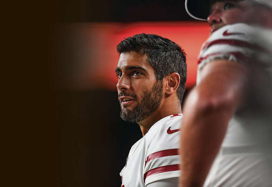 Quarterback Jimmy Garoppolo #10 of the San Francisco 49ers looks on from the sideline in the third quarter during a preseason National Football League game against the Denver Broncos at Broncos Stadium at Mile High on August 19, 2019 in Denver, Colorado. Photo: Dustin Bradford, Getty Images